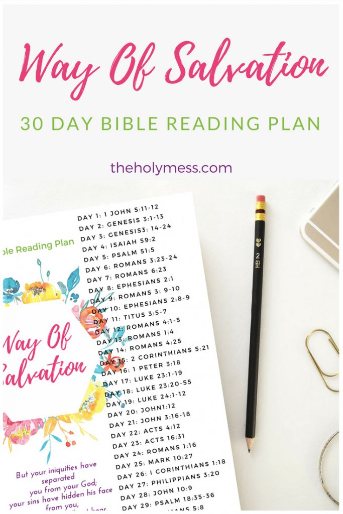 30 Day Way of Salvation Bible Reading Plan #scripture #bible #bibleverse #biblestudy