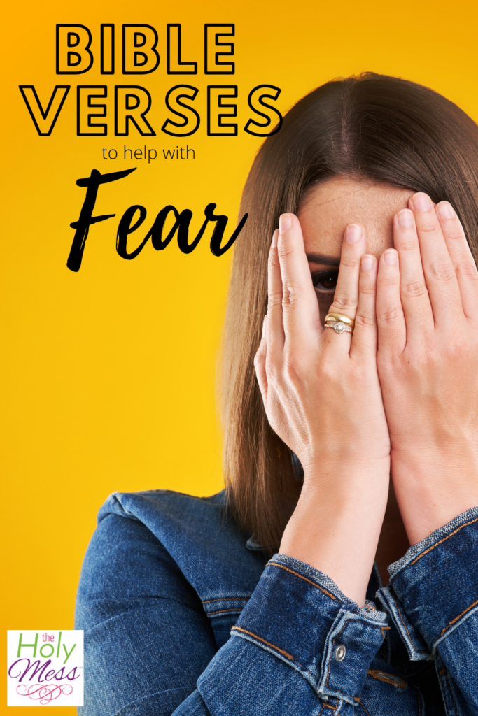 Bible Verses about fear, woman covering her face with her hands