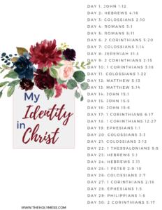 My Identity in Christ Bible Reading Plan