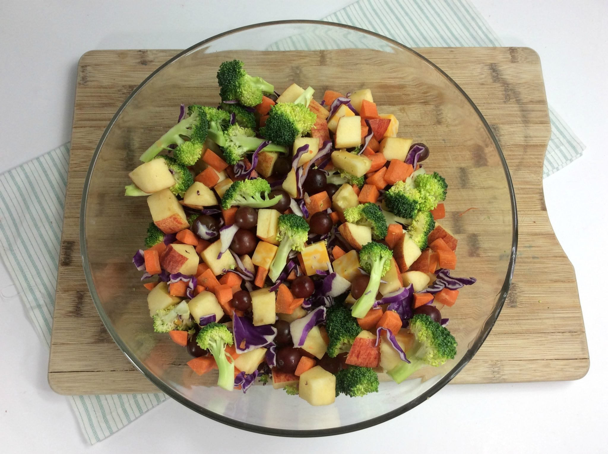 chopped veggies and fruit for the Weight Watchers broccoli salad
