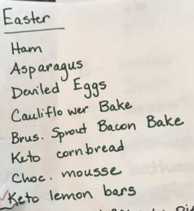 Sample Keto Easter Dinner Menu