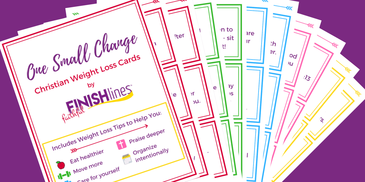 Weight Loss Motivation with One Small Change Christian Weight Loss Cards