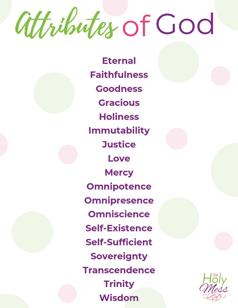 Attributes of God printable