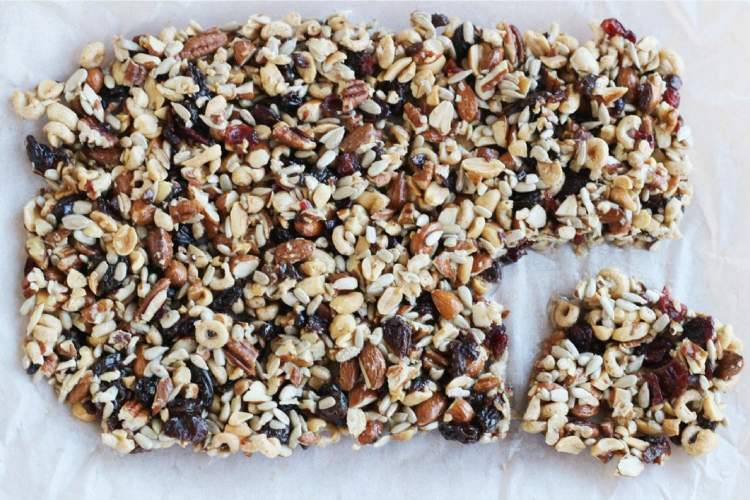 Homemade fruit and nut bars