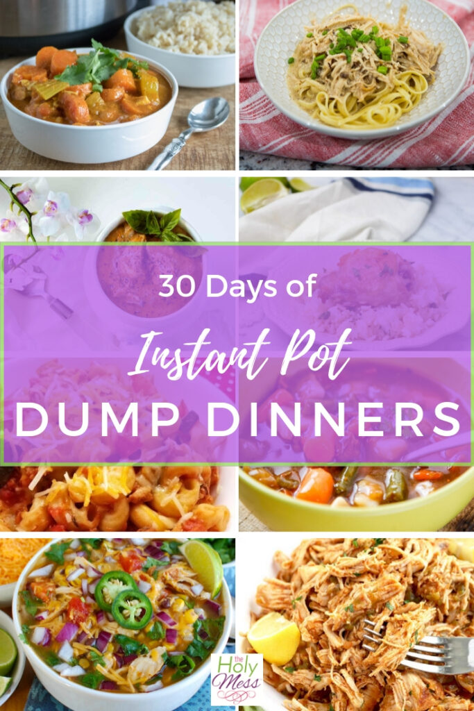 Collage of dinners made in an Instant Pot, 30 Days of Dump Meals for Instant Pot