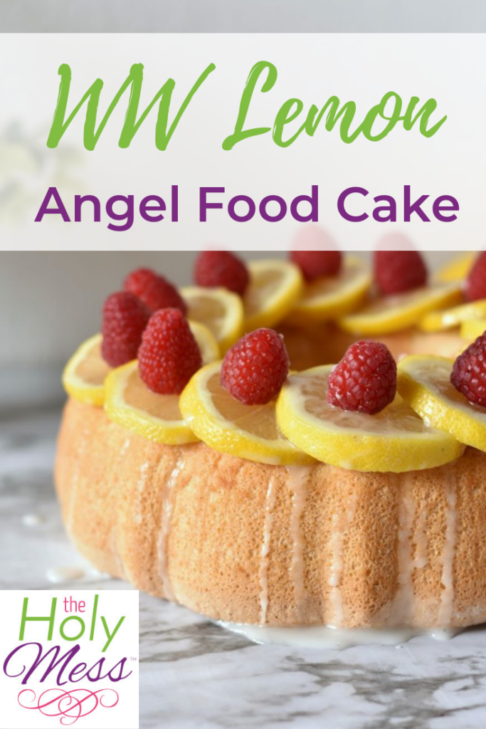 Weight Watchers Angel Food Cake topped with lemons and raspberries