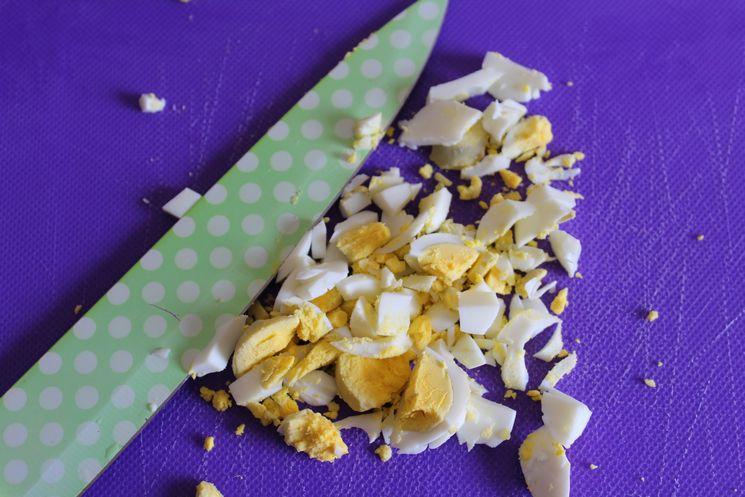 Chop boiled eggs