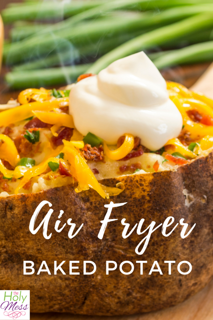 baked potato topped with cheese, bacon bits and sour cream, baked potato in air fryer