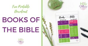 Download a free printable of the Books of the Bible.