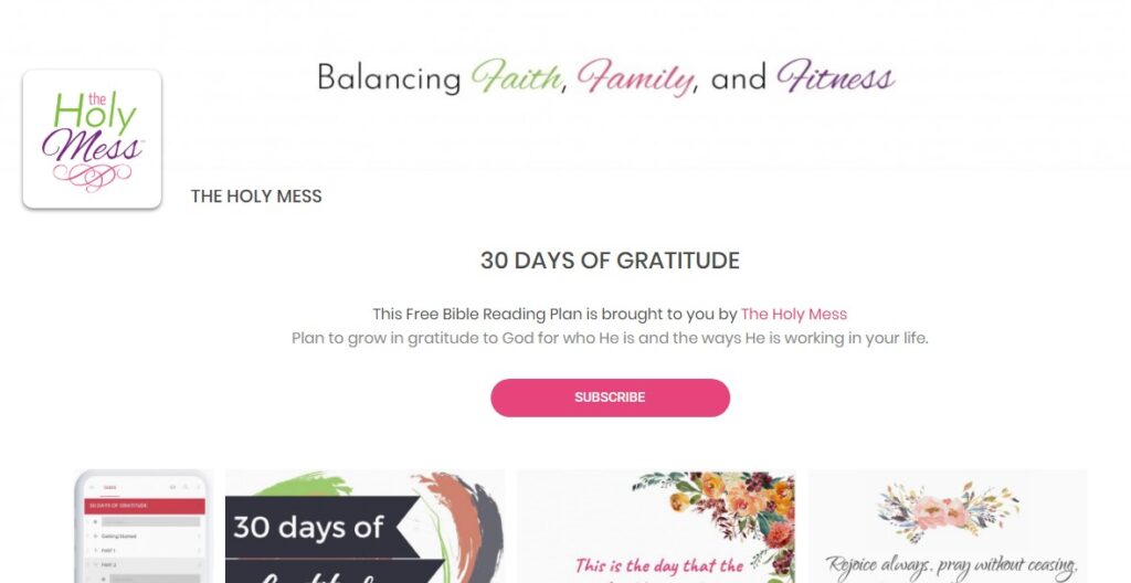 Back to the Bible Landing Page Gratitude Reading Plan