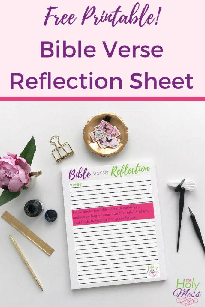 Free Bible reflection sheet
