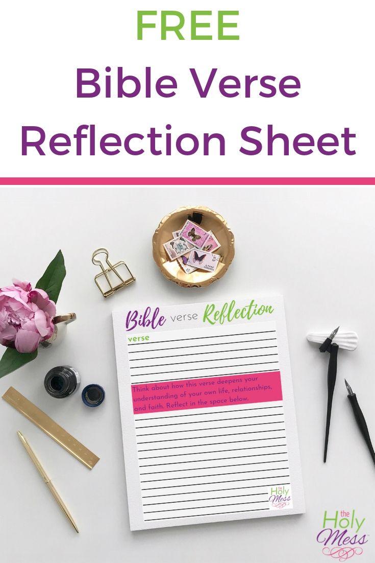 Bible Verse Reflection Sheet