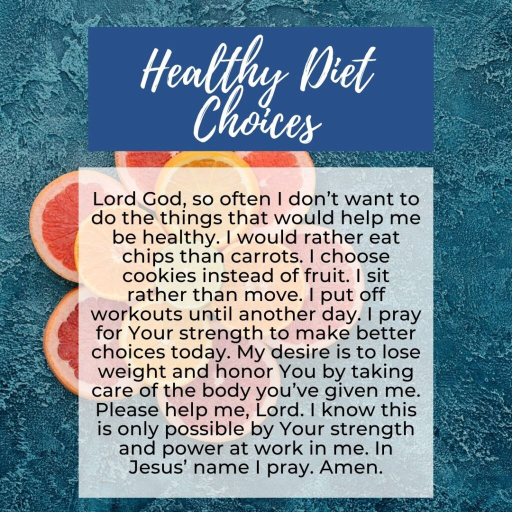 A Prayer for Healthy Dieting Choices