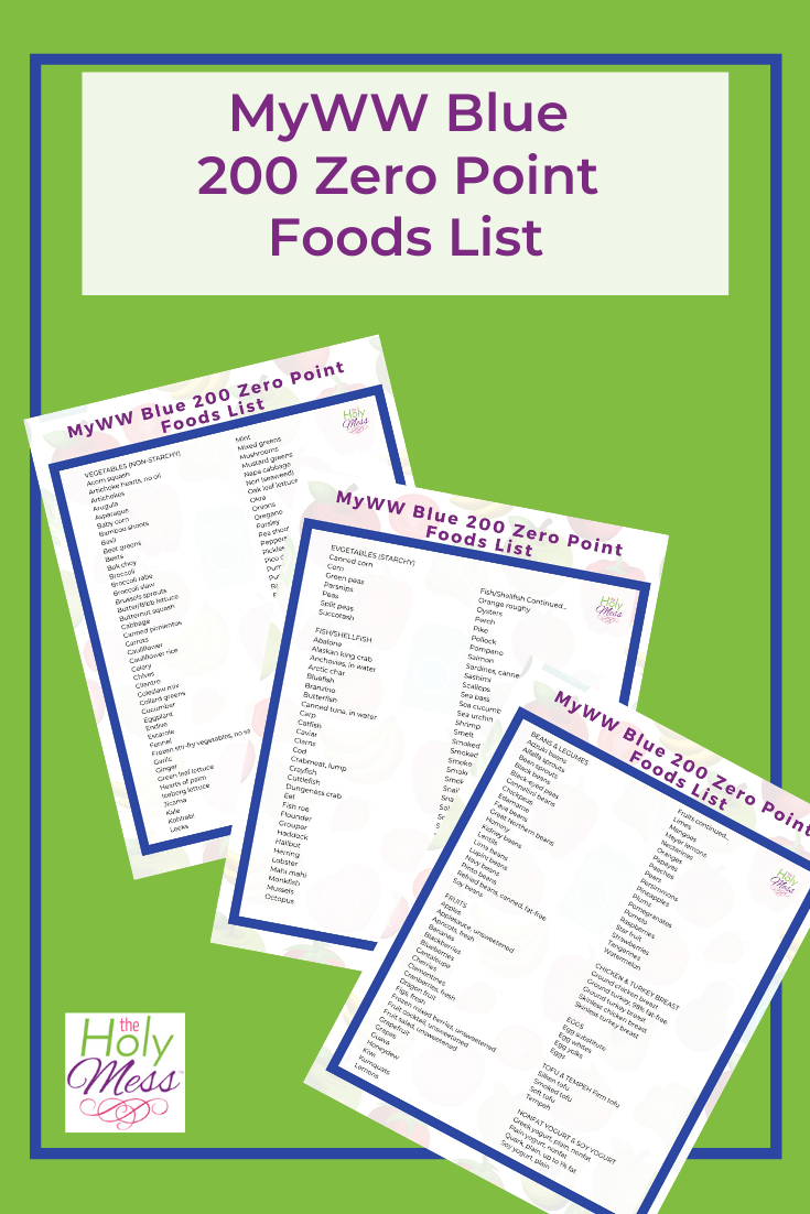 Ww Blue 200 Zero Point Foods Printable List The Holy Mess