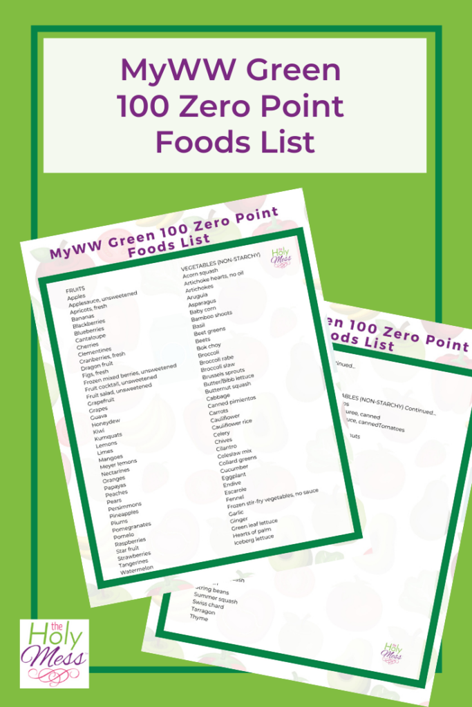 MyWW Green 100 Zero Points Food List with Free Printable