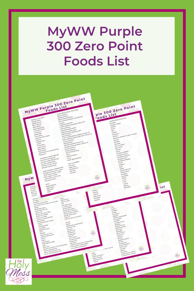 MyWW Purple 300 Zero Point Foods List - Free PDF Printable
