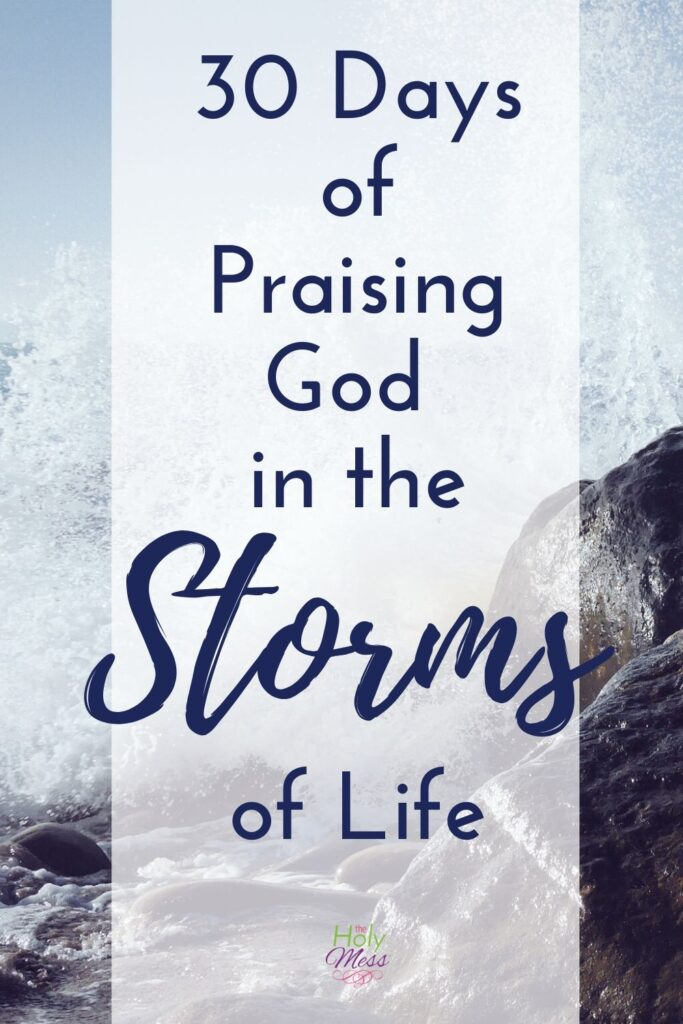 Praise God in the Storm - view of ocean with storm on rocks