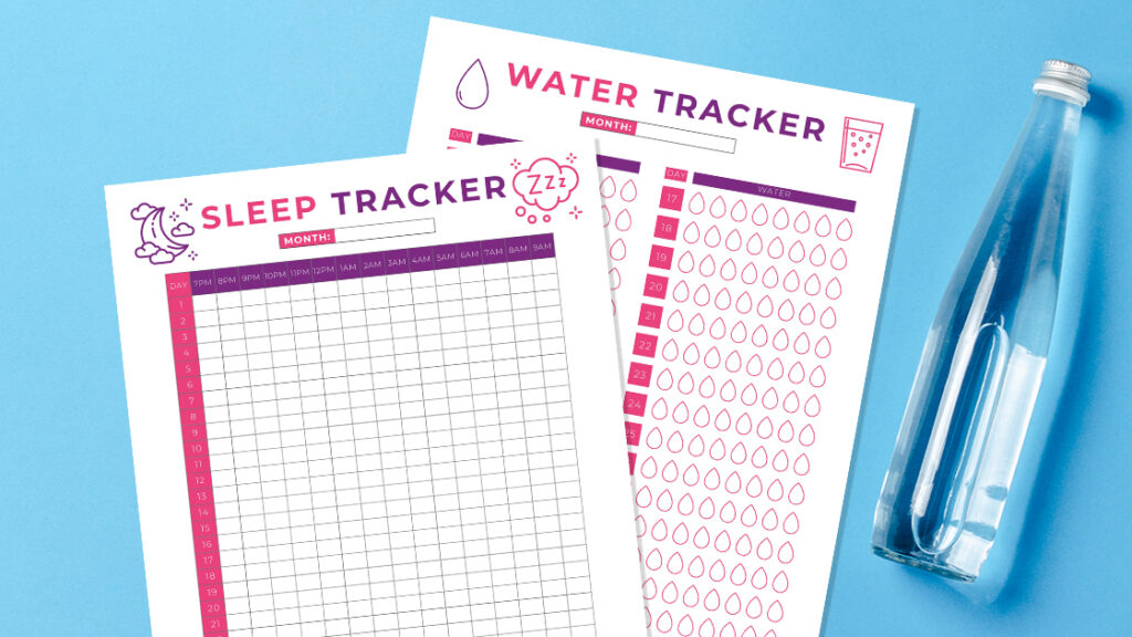 Healthy Living Sleep and Water Trackers PDF Printable