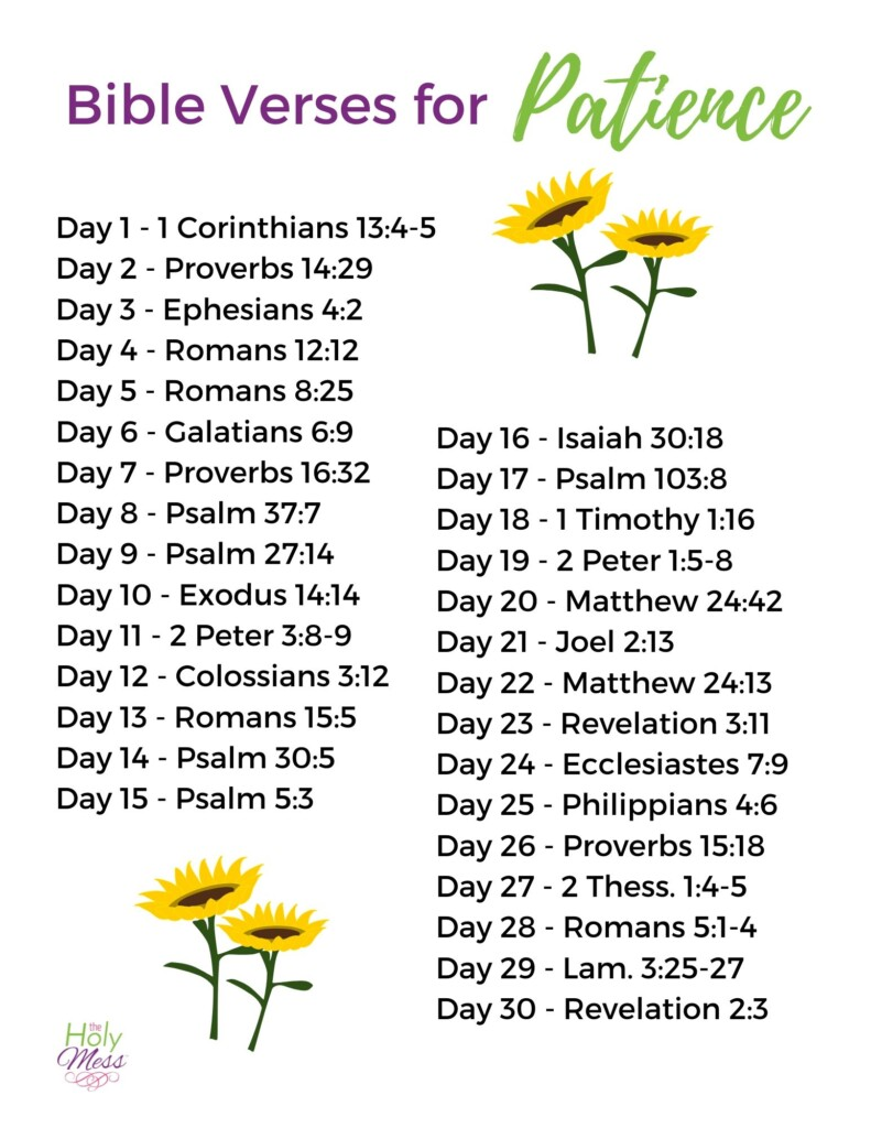 List of bible verses for patience