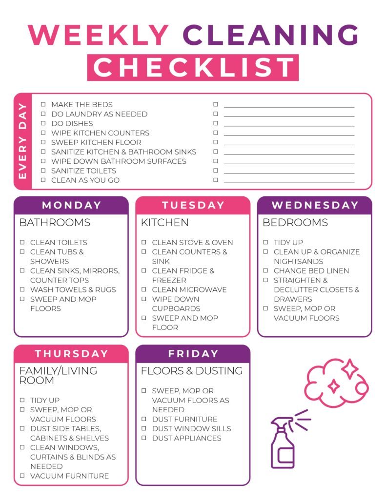 Easy Weekly Cleaning Checklist
