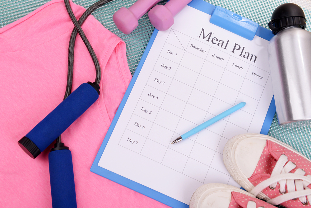 Workout clothes and meal plan