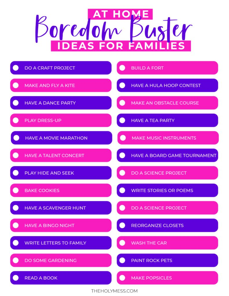 at home boredom busters for families