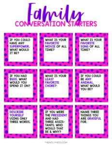 Family Conversation Starter Cards