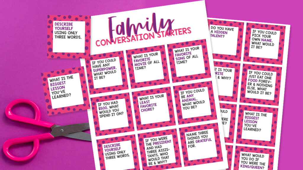 Free Family Conversation Starters Cards
