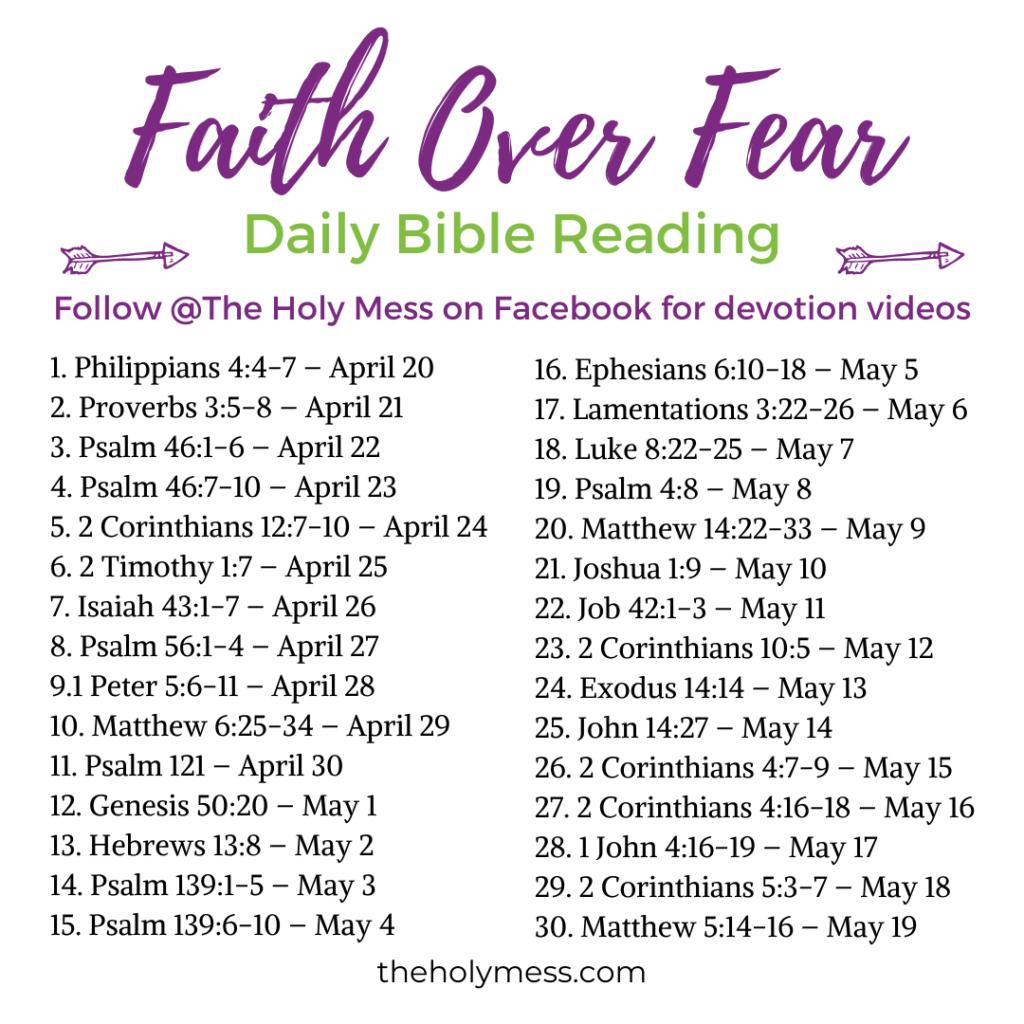 Faith Over Fear Daily Bible Reading Plan