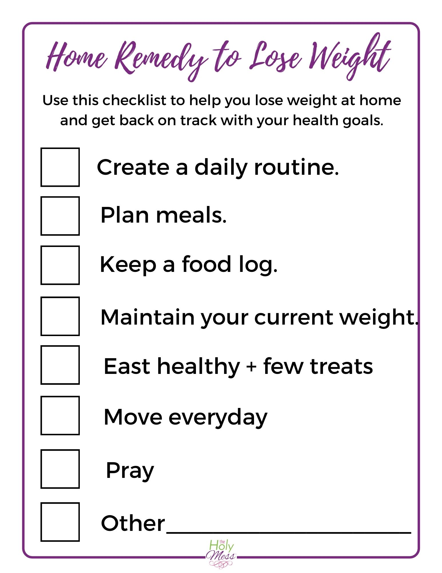home remedy to lose weight printable