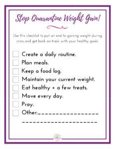 Stop Quarantine Weight Gain Checklist