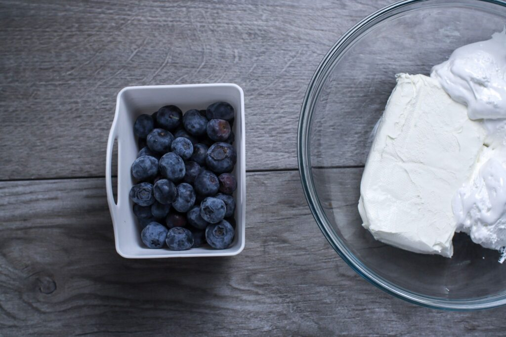 blueberries, cream cheese and coolwhip, ingredients for weight watchers fruit salad