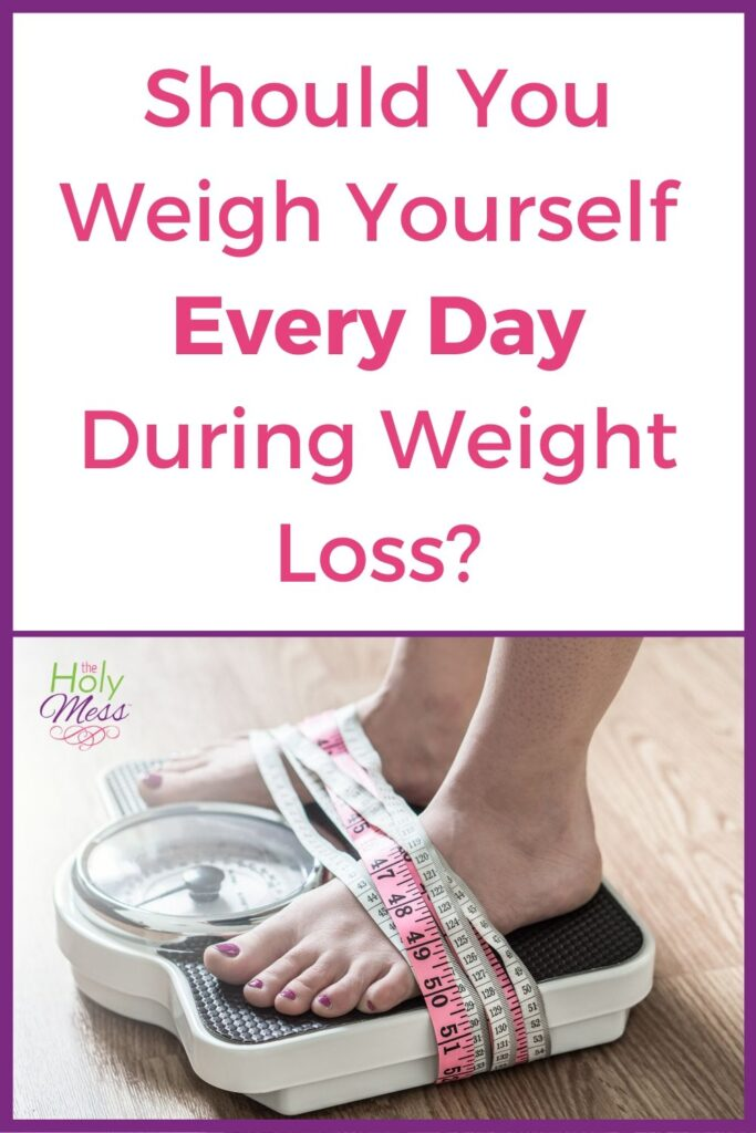 Picture of feet on scale with measuring tape and text How often should you weigh yourself?