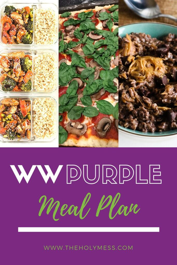 Image of pizza, oatmeal, and meal prep boxes for WW Purple plan
