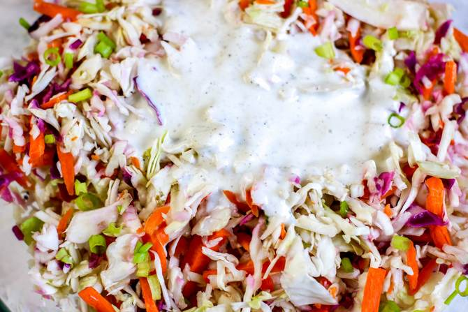 Coleslaw in bowl with sugar free dressing
