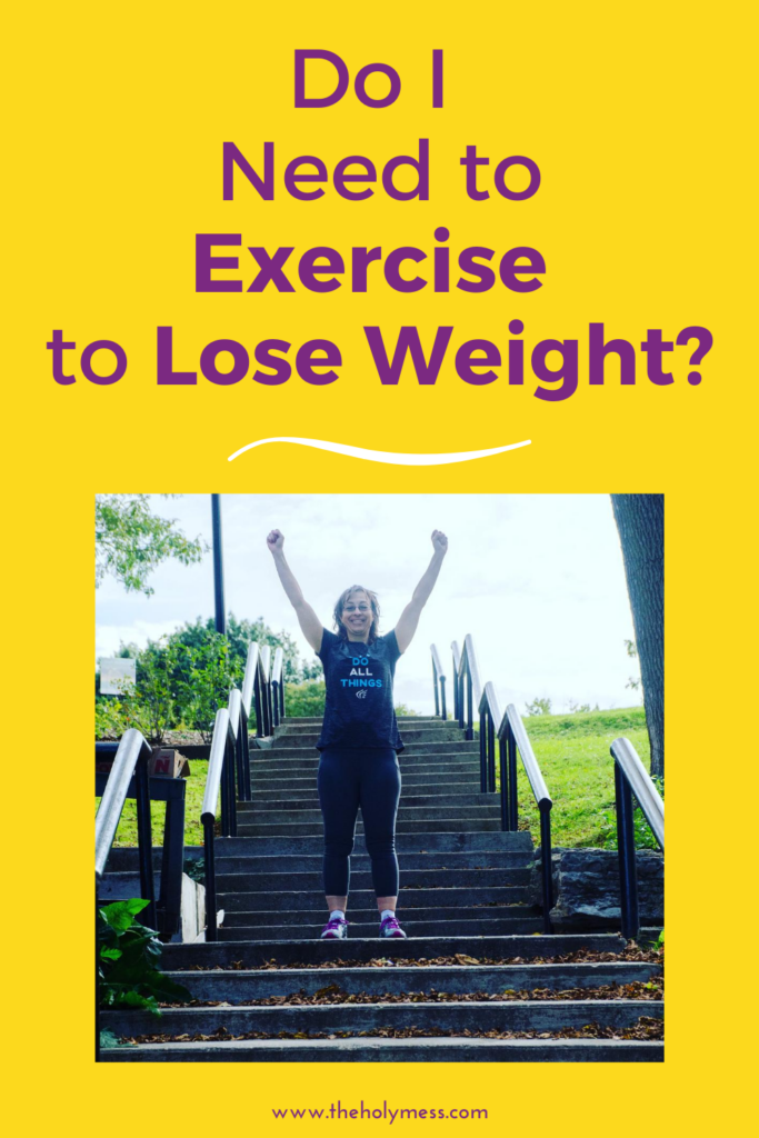 Do you Need to exercise for weight loss? Sara on steps with arms up