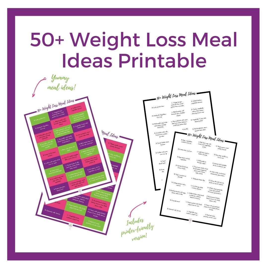 50 Weight Loss Meal Ideas printable in color and black and white