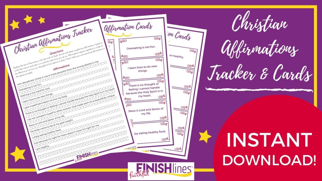Christian Weight Loss Affirmations - fanned out for display on purple
