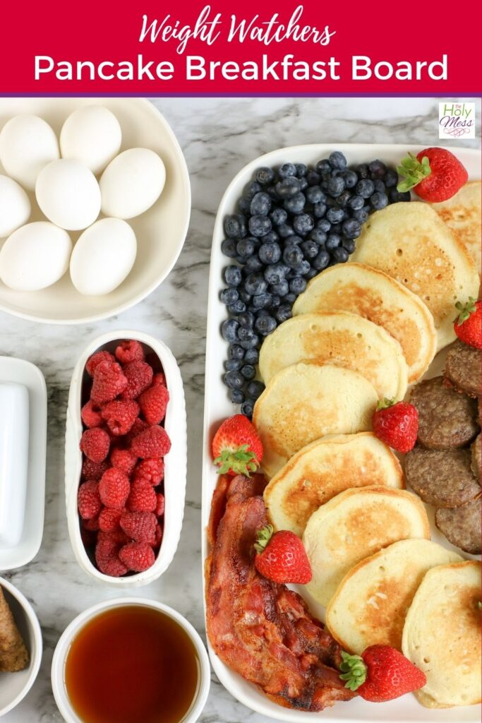 WW Breakfast Board with Pancakes and Fruit on Table