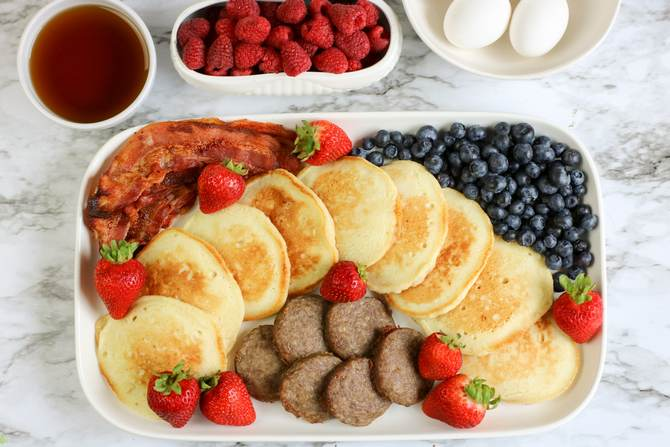 MyWw Breakfast tray with pancakes, turkey sausage and bacon