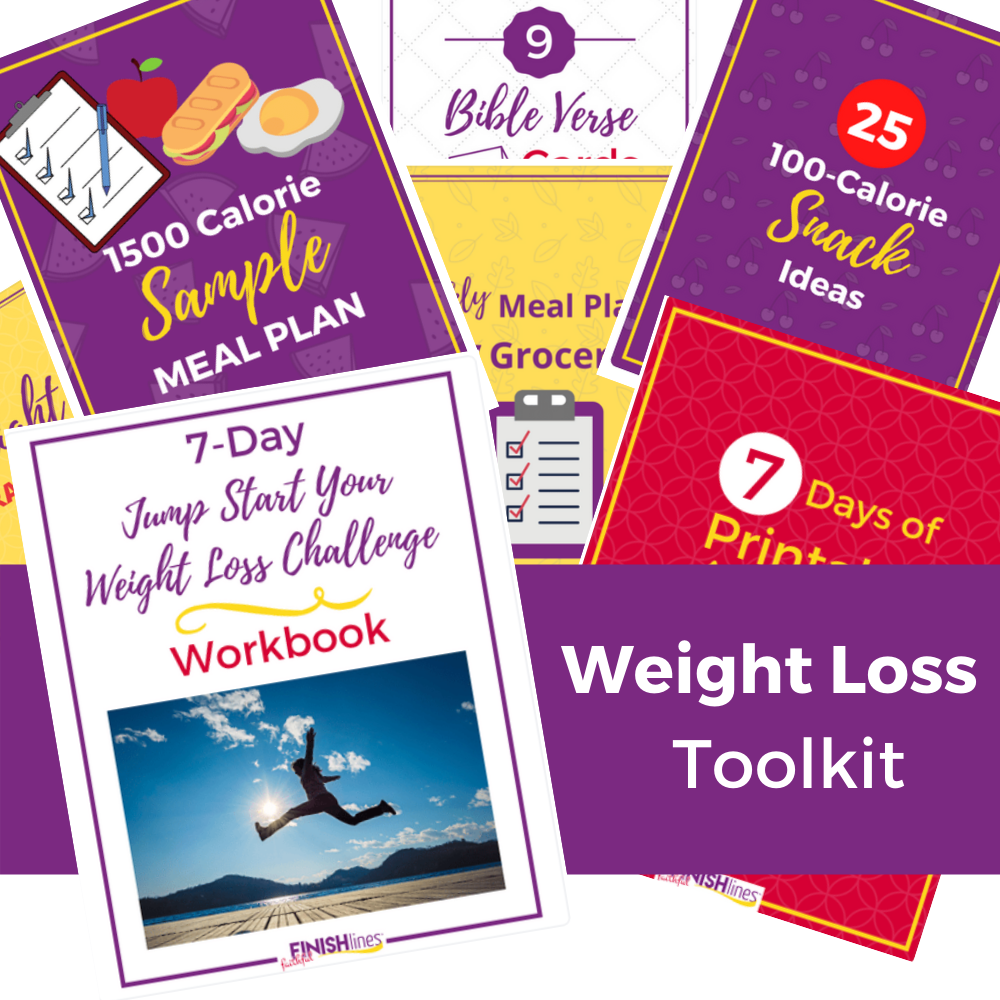 Weight Loss Toolkit by Faithful Finish Lines - Display of what's included