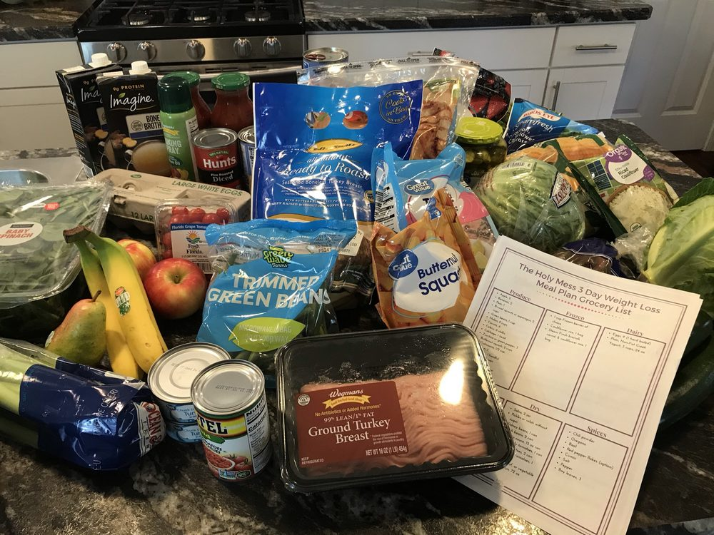 3 day diet plan groceries in kitchen