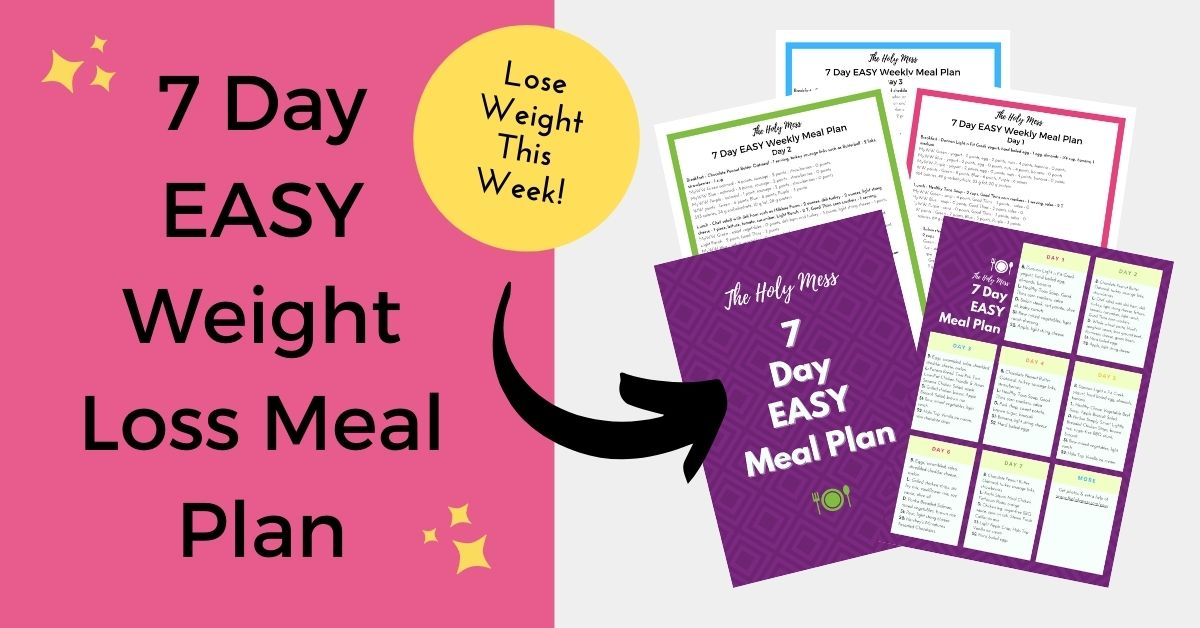 7 Day Easy Weight Loss Meal Plan sample pages with arrow