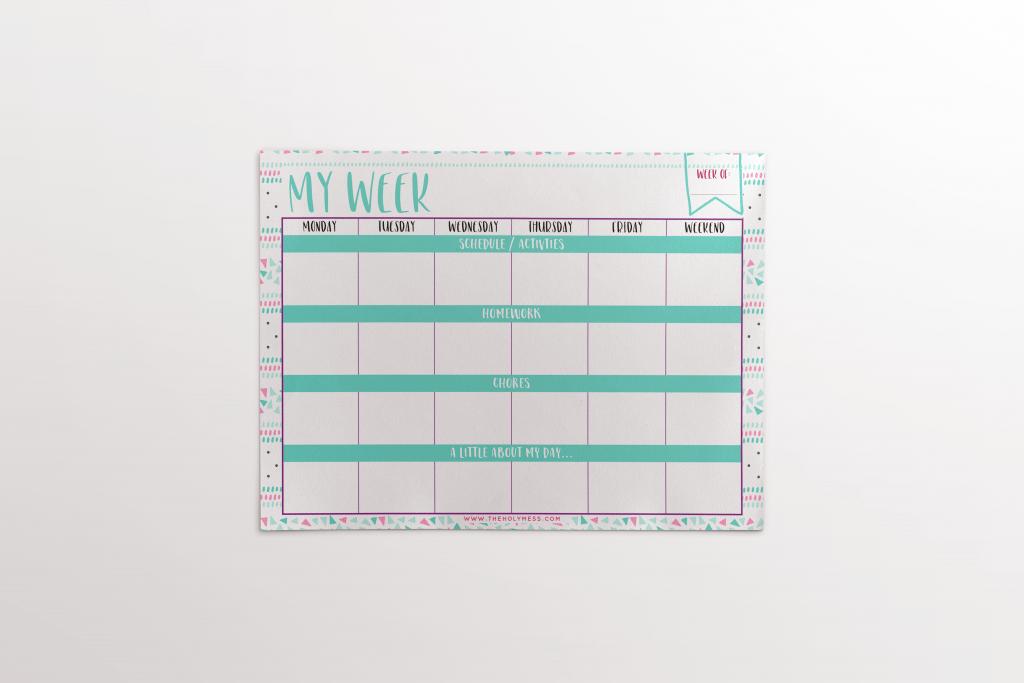 kid's printable planner