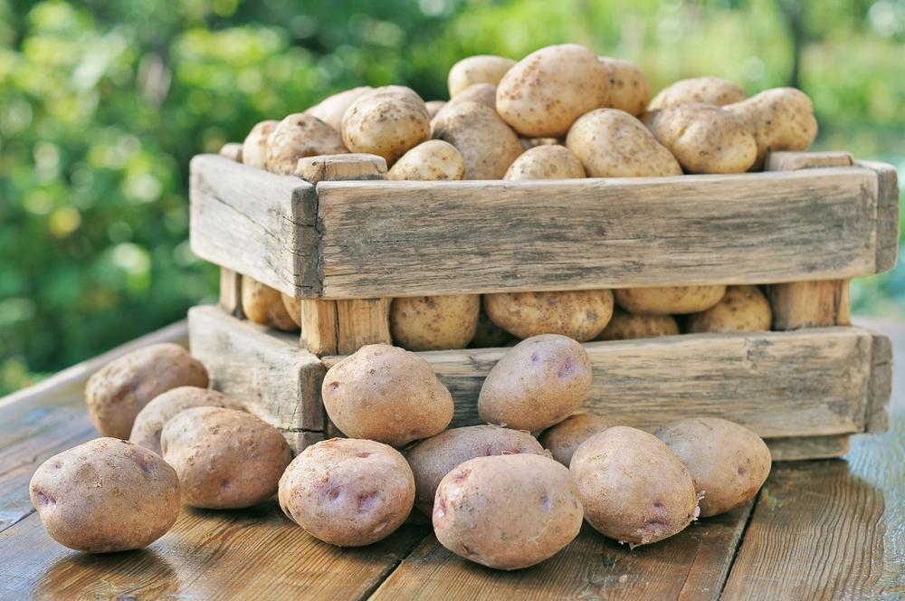 potatoes in box outside