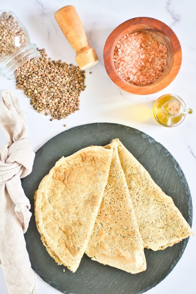 red lentil pancakes on a plate