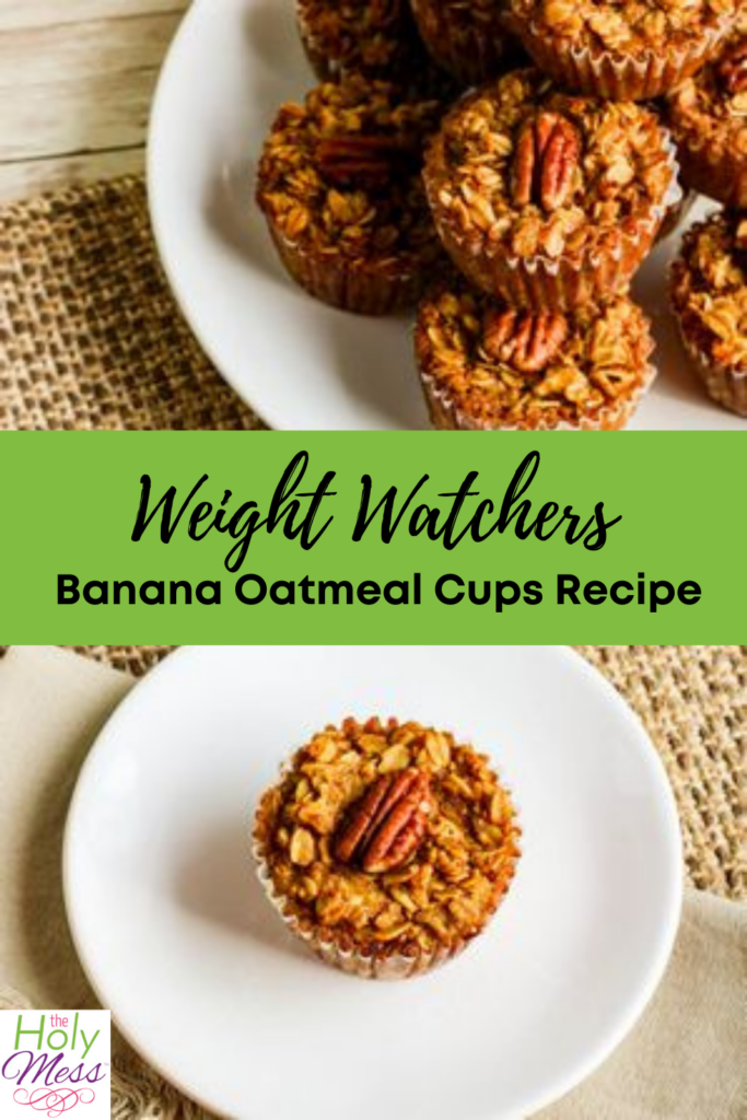 weight watchers banana oatmeal cups recipe, banana oatmeal cups in muffin tin and on white plate