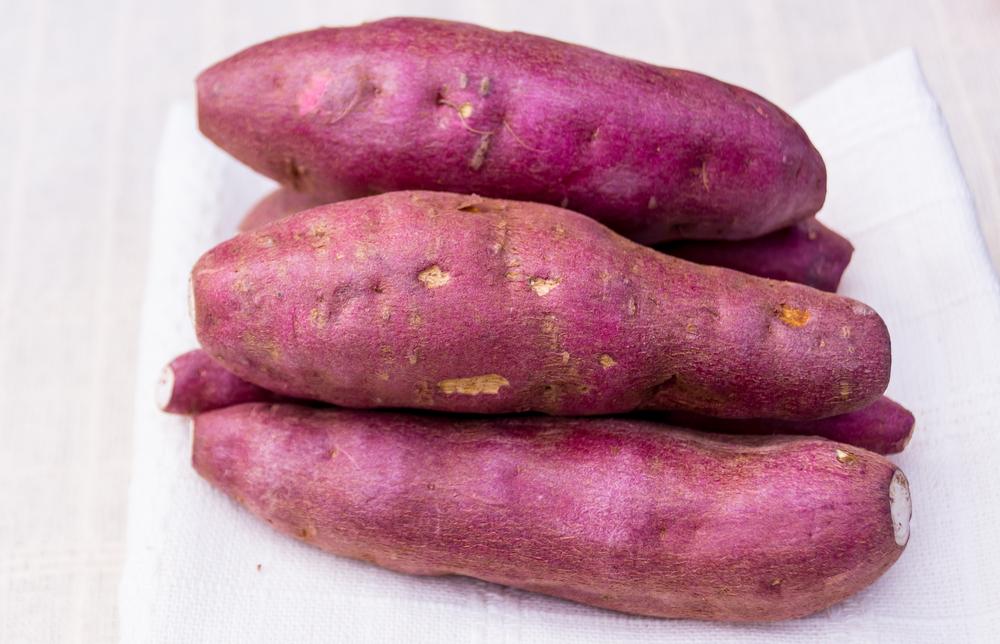 Japanese sweet potatoes on table