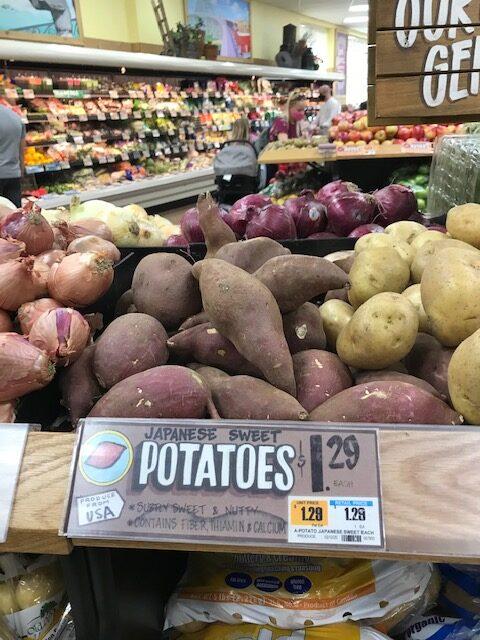 Japanese Sweet Potatoes in Trader Joe's store in New York