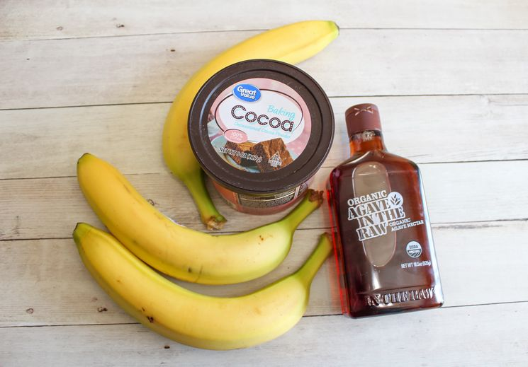 Banana nice cream ingredients on kitchen counter
